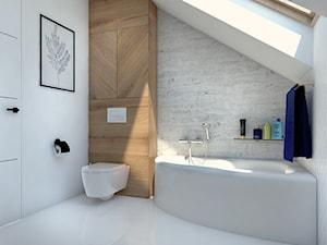 Przykładowa aranżacja parteru domu jednorodzinnego - Mała szara łazienka na poddaszu w domu jednorodzinnym z oknem, styl minimalistyczny - zdjęcie od Radkiewicz Architektura