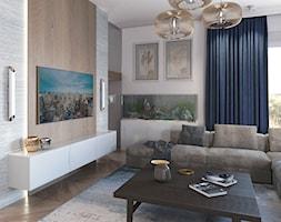 Nowoczesny salon z akwarium - zdjęcie od Auroom Concept - Homebook