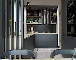 Industrialna kuchnia z ciemnymi frontami - zdjęcie od Auroom Concept