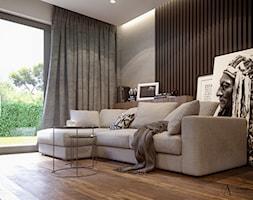 Salon z czarnymi drewnianymi panelami ściennymi - zdjęcie od Auroom Concept - Homebook