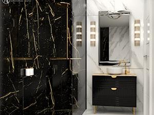 Biało-czarna łazienka z kamieniem w stylu glamour - zdjęcie od Auroom Concept