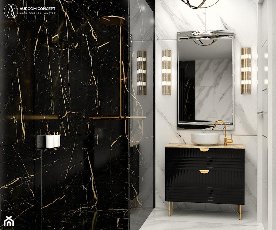 Aranżacje wnętrz - Łazienka: Biało-czarna łazienka z kamieniem w stylu glamour - Auroom Concept. Przeglądaj, dodawaj i zapisuj najlepsze zdjęcia, pomysły i inspiracje designerskie. W bazie mamy już prawie milion fotografii!