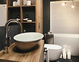 Ciemna łazienka z wanna wolnostojącą - zdjęcie od Auroom Concept - Homebook