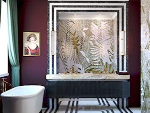 Bordowa łazienka w czarno-białe paski - zdjęcie od Auroom Concept