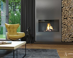 Industrialny salon z kominkiem - zdjęcie od Auroom Concept