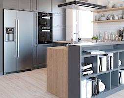 Szara+kuchnia+otwarta+na+salon+-+zdj%C4%99cie+od+Auroom+Concept