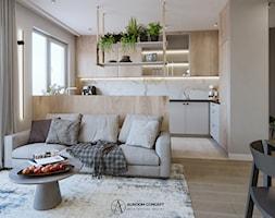 Salon w ciepłych szarościach - zdjęcie od Auroom Concept - Homebook
