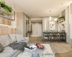 Salon z jadalnią oraz aneksem kuchennym - zdjęcie od Auroom Concept - Homebook