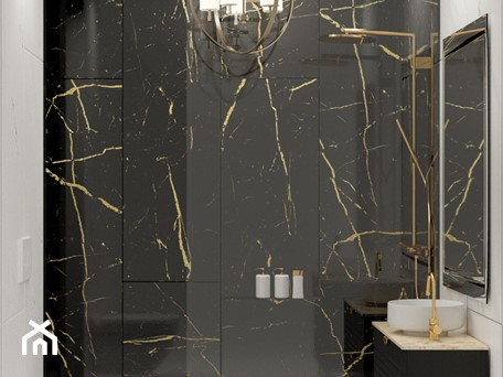 Aranżacje wnętrz - Łazienka: Mała elegancka łazienka z czarno-złotym kamieniem - Auroom Concept. Przeglądaj, dodawaj i zapisuj najlepsze zdjęcia, pomysły i inspiracje designerskie. W bazie mamy już prawie milion fotografii!