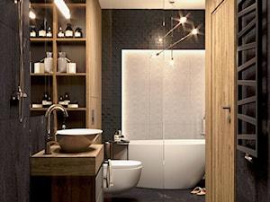 Ciemna łazienka z wolnostojącą wanną - zdjęcie od Auroom Concept