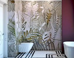 Bordowa łazienka z mozaiką na ścianie - zdjęcie od Auroom Concept