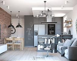 Industrialna szara kuchnia z cegłą - zdjęcie od Auroom Concept - Homebook