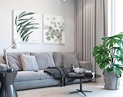 Salon z szarą kanapą i monsterą - zdjęcie od Auroom Concept - Homebook
