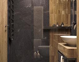 Ciemna łazienka z drewnem - zdjęcie od Auroom Concept - Homebook