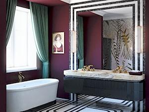 Bordowa łazienka