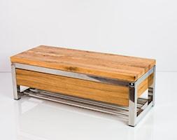 Ławka Stal Nierdzewna Polerowana Blat Dębowy Olejowany EMRA WOOD - zdjęcie od Emra Wood Design - Homebook