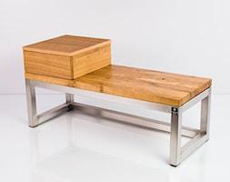 Ławka Stal Szczotkowana Polerowana Szufladka Blat Dębowy Olejowany EMRA WOOD - zdjęcie od Emra Wood Design - Homebook