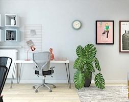 MIESZKANIE ŁÓDŹ - Średnie szare biuro kącik do pracy w pokoju, styl industrialny - zdjęcie od Biel Klaudyna