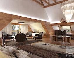 Dom z bali jako dworek pod Częstochową - Duża biała sypialnia dla gości małżeńska na poddaszu z balkonem / tarasem, styl klasyczny - zdjęcie od balhouse - projektowanie wnętrz