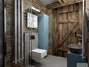 łazienka na poddaszu drewnianego domku weekendowego - zdjęcie od balhouse - projektowanie wnętrz