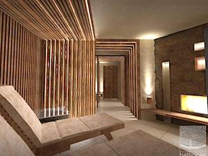 Pomieszczeniespa z kominkiem w stylu zen w piwniczce - zdjęcie od balhouse - projektowanie wnętrz