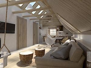 salon w otwartej przestrzeni dziennej na poddaszu - zdjęcie od balhouse - projektowanie wnętrz