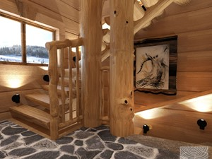 klatka schodowa w domu z bali - zdjęcie od balhouse - projektowanie wnętrz