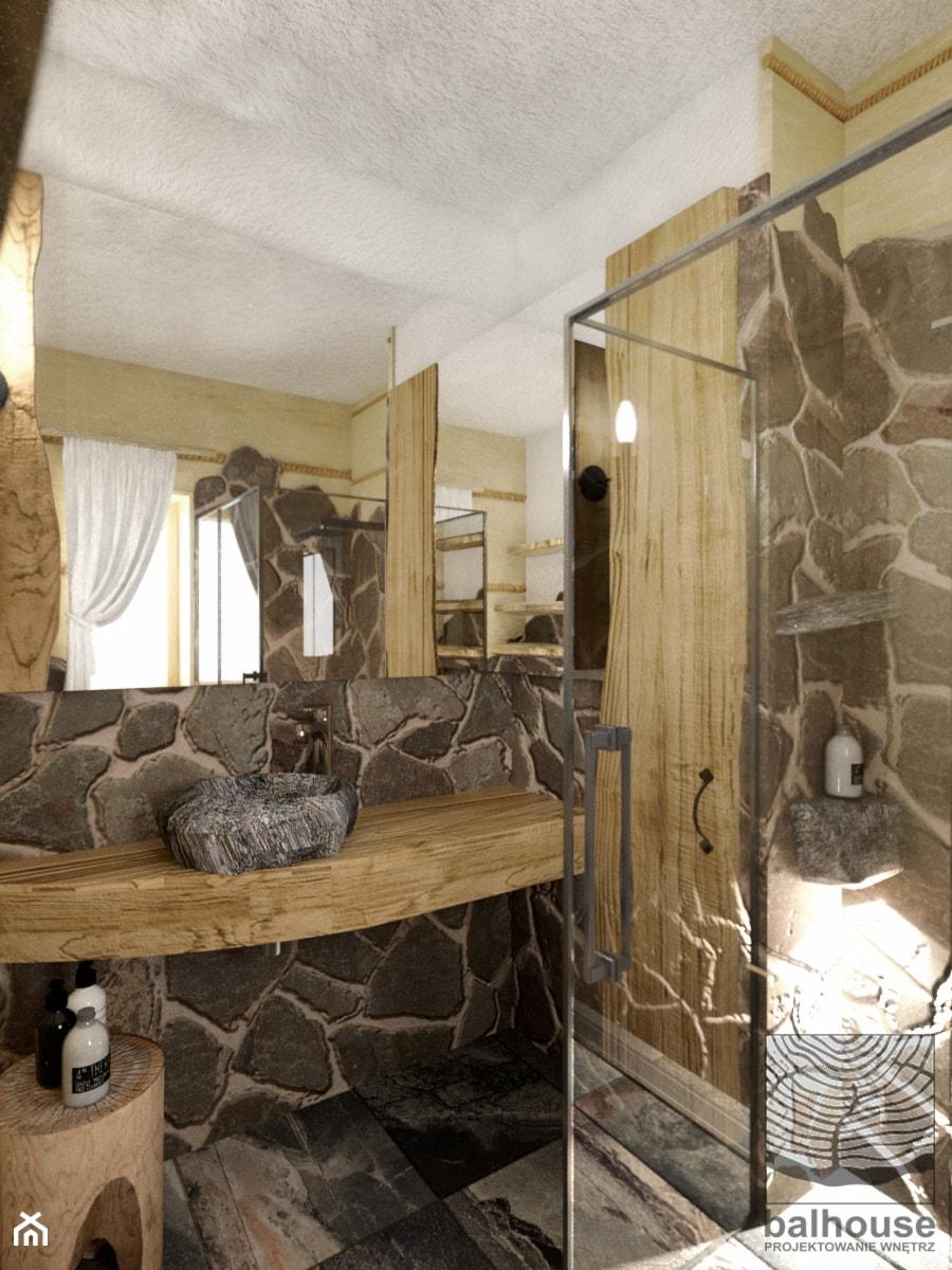 Aranżacje wnętrz - Łazienka: Dom z bali w Jordanowie - Mała szara łazienka na poddaszu w bloku w domu jednorodzinnym z oknem, styl tradycyjny - balhouse - projektowanie wnętrz. Przeglądaj, dodawaj i zapisuj najlepsze zdjęcia, pomysły i inspiracje designerskie. W bazie mamy już prawie milion fotografii!