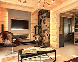 Salon w domu z bali - zdjęcie od balhouse - projektowanie wnętrz