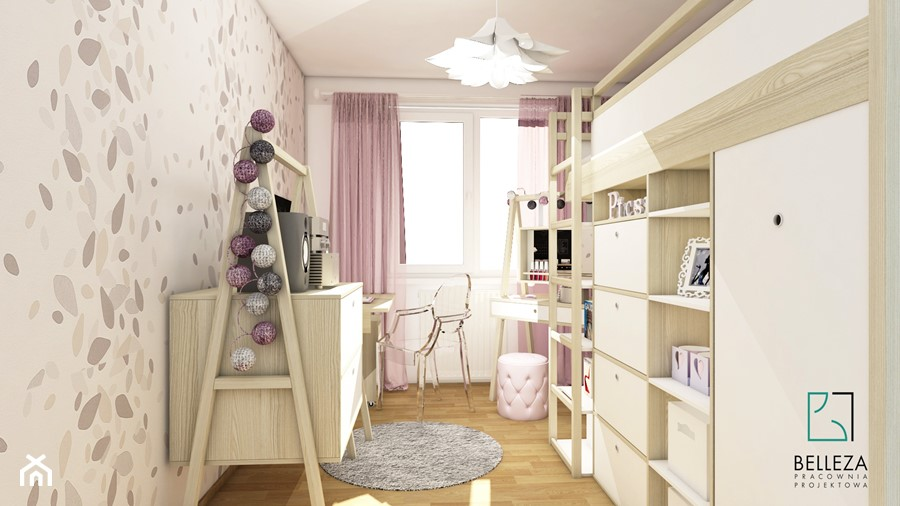 Aranżacje wnętrz - Pokój dziecka: Mały szary pokój dziecka dla dziewczynki dla ucznia dla nastolatka, styl glamour - Belleza Pracownia Projektowa - Architekt / Projektant Wnętrz. Przeglądaj, dodawaj i zapisuj najlepsze zdjęcia, pomysły i inspiracje designerskie. W bazie mamy już prawie milion fotografii!