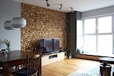 panel drewniany 3d w salonie