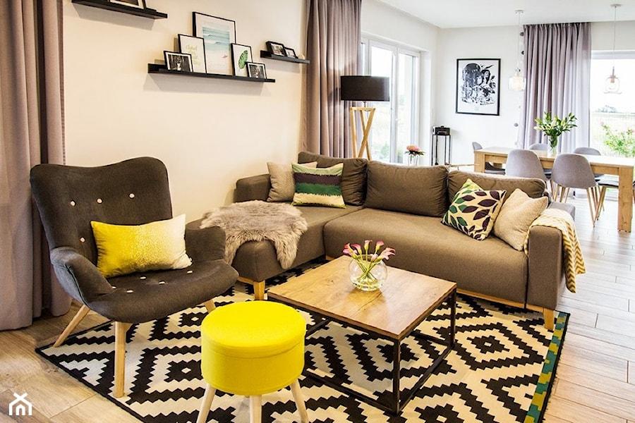 Konkurs O!Twórz Mieszkanie - Średni biały salon z jadalnią z tarasem / balkonem, styl nowoczesny - zdjęcie od Porta Drzwi