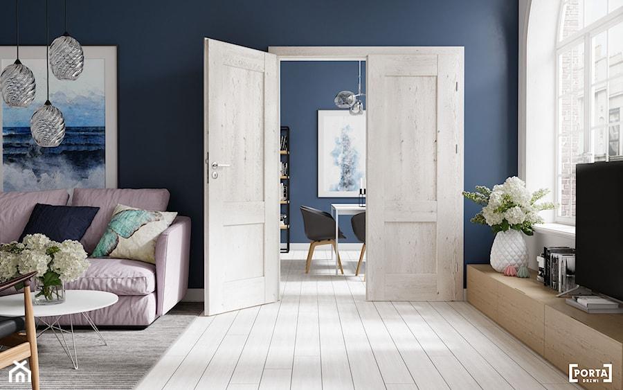 Inspiracje - Średni biały niebieski salon, styl skandynawski - zdjęcie od Porta Drzwi