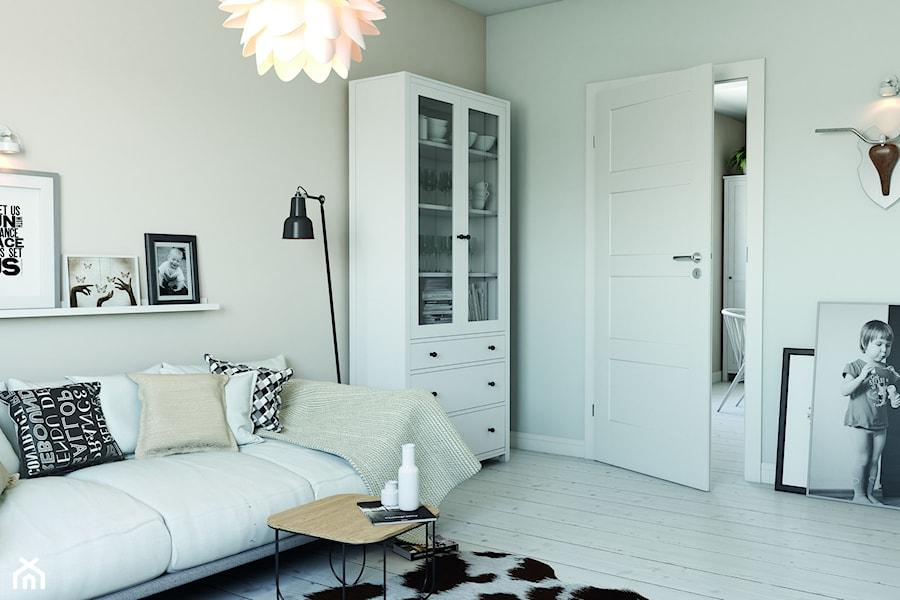 Inspiracje - Średni biały beżowy salon, styl skandynawski - zdjęcie od Porta Drzwi