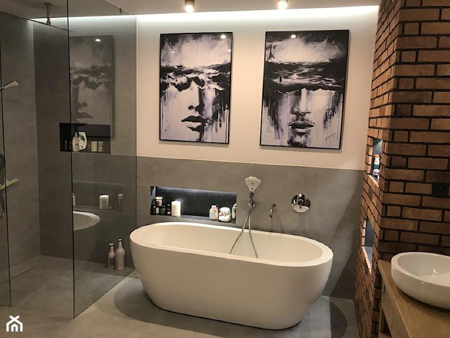 Konkurs O!Twórz Mieszkanie - Średnia szara łazienka w bloku w domu jednorodzinnym bez okna, styl nowoczesny - zdjęcie od Porta Drzwi