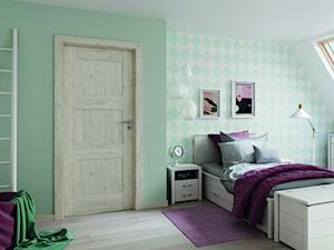 Inspiracje - Średni biały zielony pokój dziecka dla dziewczynki dla nastolatka, styl tradycyjny - zdjęcie od Porta Drzwi