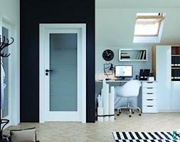 Inspiracje - Średnie czarne białe żółte biuro domowe kącik do pracy w pokoju, styl nowoczesny - zdjęcie od Porta Drzwi