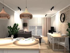 PRZYTULNE MIESZKANIE - Mały szary salon z jadalnią, styl nowoczesny - zdjęcie od KRET'''KA PRACOWNIA PROJEKTOWA