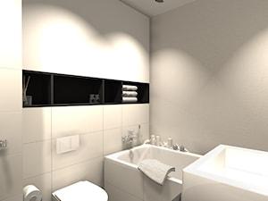 MIESZKANIE Z ŻÓŁTYM AKCENTEM - Mała beżowa łazienka w bloku w domu jednorodzinnym bez okna, styl nowoczesny - zdjęcie od KRET'''KA PRACOWNIA PROJEKTOWA