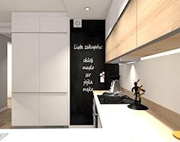 MIESZKANIE W CIEPŁYCH ODCIENIACH NATURY - Średnia zamknięta biała czarna kuchnia w kształcie litery u, styl minimalistyczny - zdjęcie od KRET'''KA PRACOWNIA PROJEKTOWA