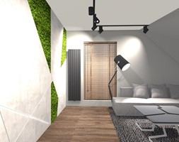DOM ZE SKOSAMI W SUROWYM KLIMACIE - Średnie szare biuro domowe kącik do pracy na poddaszu w pokoju, styl minimalistyczny - zdjęcie od KRET'''KA PRACOWNIA PROJEKTOWA