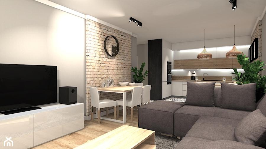 PRZYTULNE MIESZKANIE - Średni szary biały salon z kuchnią z jadalnią, styl nowoczesny - zdjęcie od KRET'''KA PRACOWNIA PROJEKTOWA
