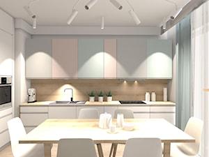 PASTELOWE MIESZKANIE - Średnia biała beżowa kuchnia w kształcie litery l w aneksie z oknem, styl minimalistyczny - zdjęcie od KRET'''KA PRACOWNIA PROJEKTOWA