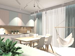 PASTELOWE MIESZKANIE - Średnia otwarta szara kuchnia jednorzędowa z oknem, styl minimalistyczny - zdjęcie od KRET'''KA PRACOWNIA PROJEKTOWA