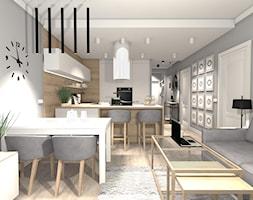 ELEGANCKIE MIESZKANIE W ODCIENIACH PUSTYNII - Mała otwarta wąska szara kuchnia dwurzędowa w aneksie z wyspą, styl nowoczesny - zdjęcie od KRET'''KA PRACOWNIA PROJEKTOWA