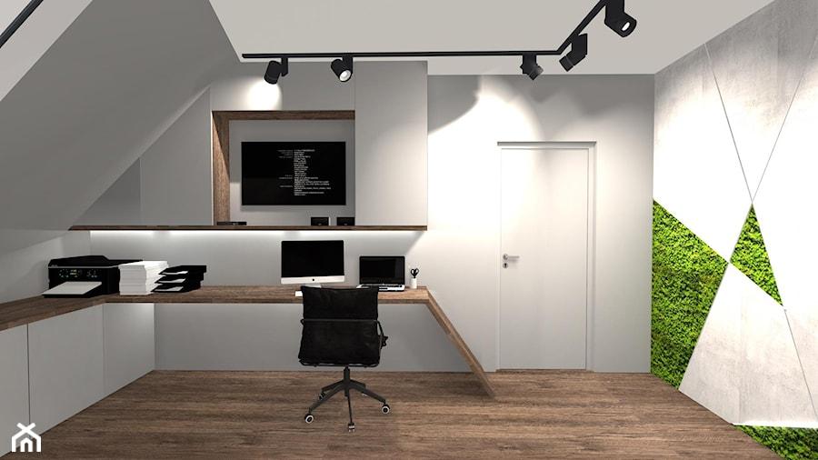 Aranżacje wnętrz - Biuro: DOM ZE SKOSAMI W SUROWYM KLIMACIE - Średnie szare biuro pracownia kącik do pracy na poddaszu, styl minimalistyczny - KRET'''KA PRACOWNIA PROJEKTOWA. Przeglądaj, dodawaj i zapisuj najlepsze zdjęcia, pomysły i inspiracje designerskie. W bazie mamy już prawie milion fotografii!