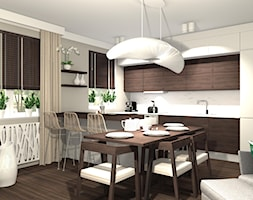 KOLONIALNY SALON Z ANEKSEM KUCHENNYM - Średnia biała szara jadalnia w kuchni w salonie, styl kolonialny - zdjęcie od KRET'''KA PRACOWNIA PROJEKTOWA