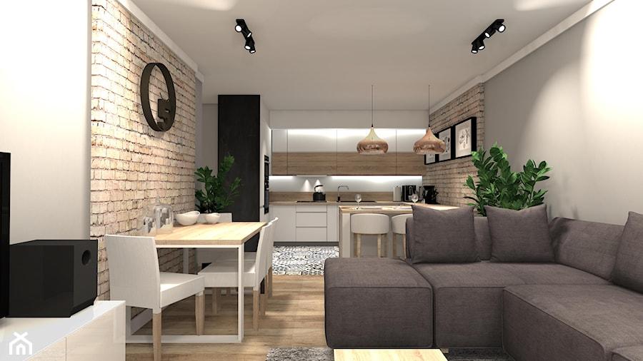 PRZYTULNE MIESZKANIE - Średnia otwarta biała beżowa szara jadalnia w kuchni w salonie, styl nowoczesny - zdjęcie od KRET'''KA PRACOWNIA PROJEKTOWA