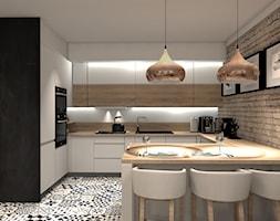 PRZYTULNE MIESZKANIE - Średnia otwarta szara kuchnia w kształcie litery g w aneksie, styl nowoczesny - zdjęcie od KRET'''KA PRACOWNIA PROJEKTOWA