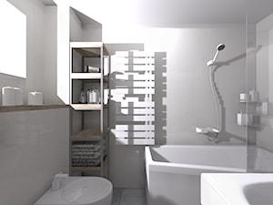MINIMALISTYCZNA ŁAZIENKA - Średnia łazienka w bloku w domu jednorodzinnym z oknem, styl minimalistyczny - zdjęcie od KRET'''KA PRACOWNIA PROJEKTOWA